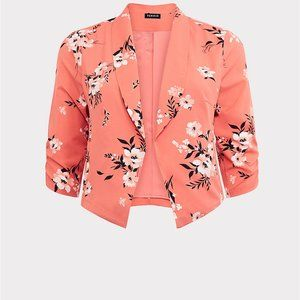 Torrid Plus Size Coral Floral Crepe Blazer